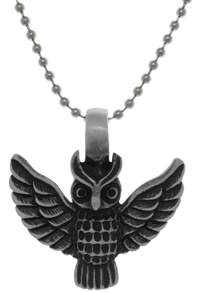 Jewelry Trends Pewter Barn Owl With Flight Wings Pendant on Steel Ball Chain Necklace