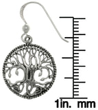 Jewelry Trends Sterling Silver Rope Edge Celtic Tree of Life Dangle Earrings