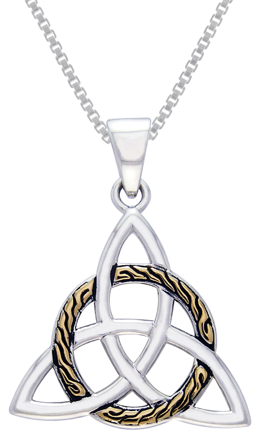 Jewelry trends sterling silver celtic trinity knot pendant with gold jewelry trends sterling silver celtic trinity knot pendant with gold plated circle of life on 18 inch box chain necklace aloadofball Gallery