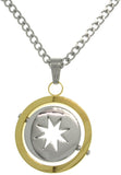 Jewelry Trends 316L Stainless Steel Two-Tone Spinning Star Circle Necklace