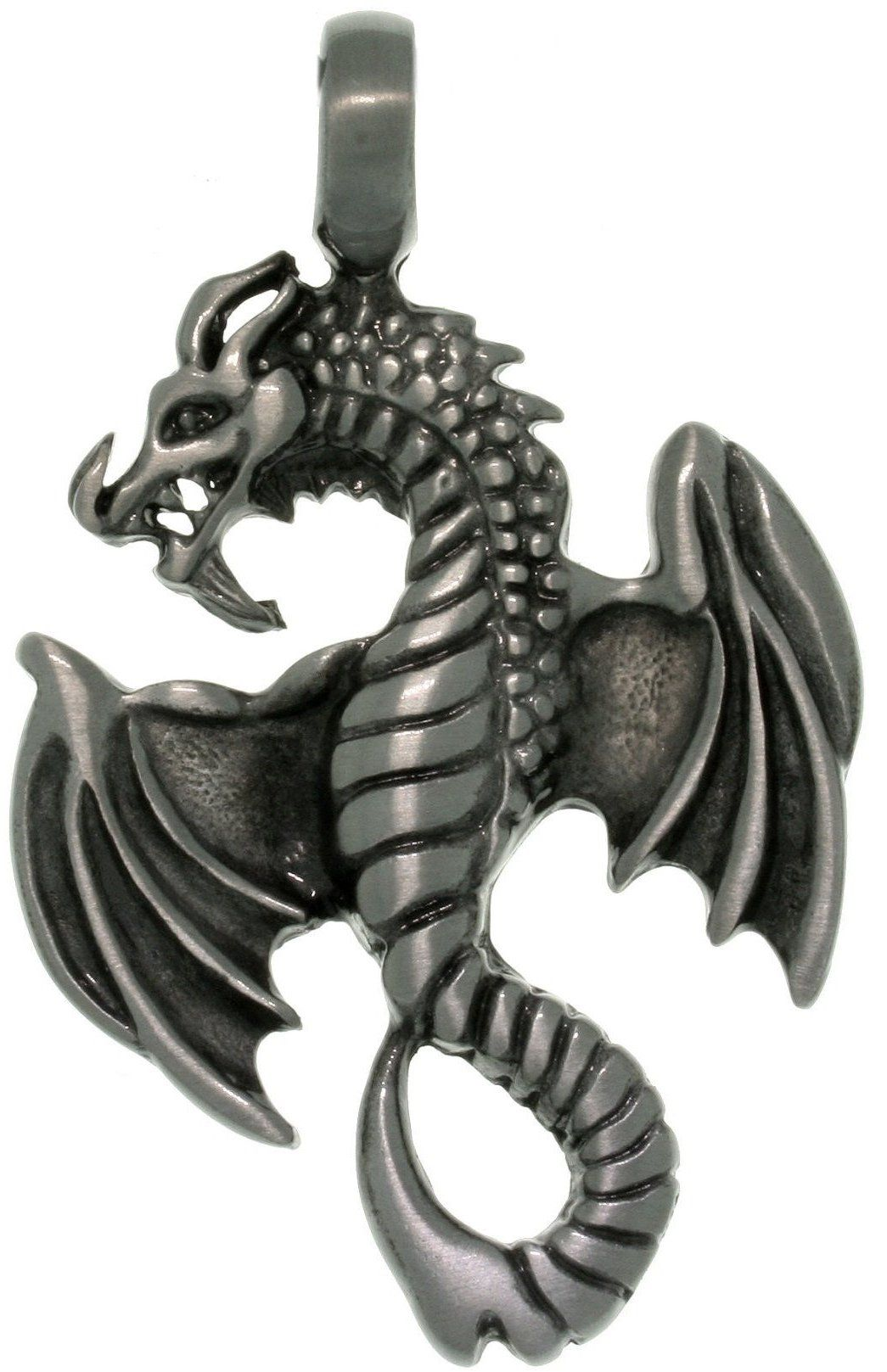 Jewelry Trends Pewter Unisex Flying Dragon Pendant