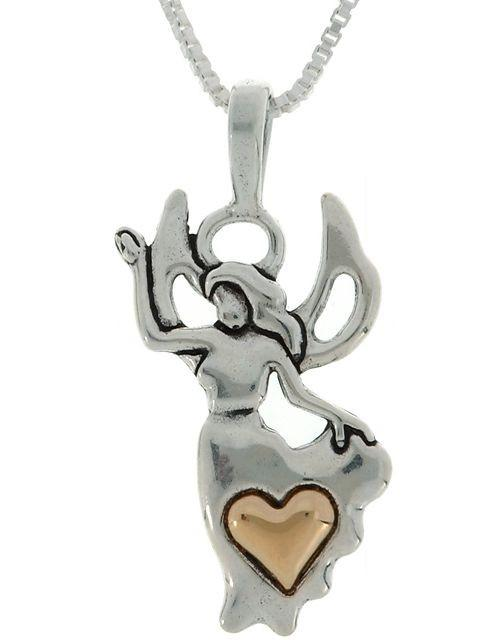Jewelry Trends Sterling Silver and 14k Gold Angel and Heart Pendant on 18 inch Box Chain Necklace