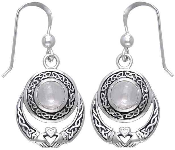 Jewelry Trends Sterling Silver Celtic Knot Claddagh Round Moonstone Dangle Earrings