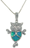 Jewelry Trends Sterling Silver Created Opal and Cubic Zirconia Owl Pendant with 18 Inch Box Chain Necklace