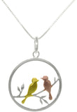 Jewelry Trends Sterling Silver Vermeil Yellow and Rose Gold Bird Lovers Round Pendant Necklace