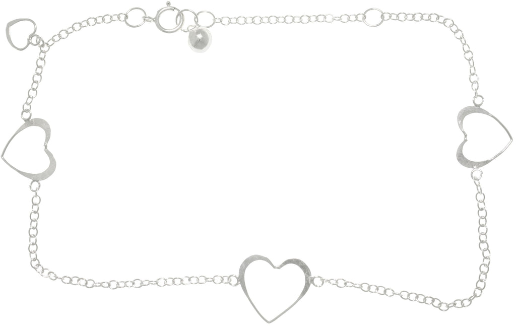 Jewelry Trends Sterling Silver Open Hearts Dangle Adjustable Chain Anklet