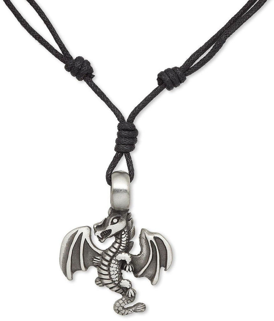 Jewelry Trends Pewter Dragon with Wings Pendant on Black Adjustable Cord