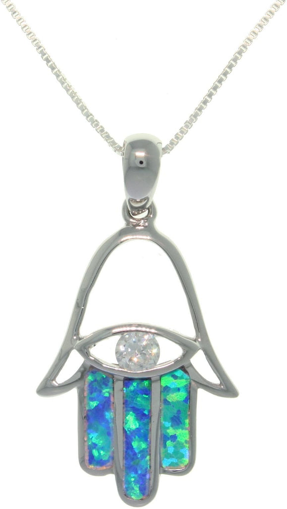 Jewelry Trends Sterling Silver Created Opal and CZ Hand of Fatima Pendant with 18 Inch Box Chain Necklace