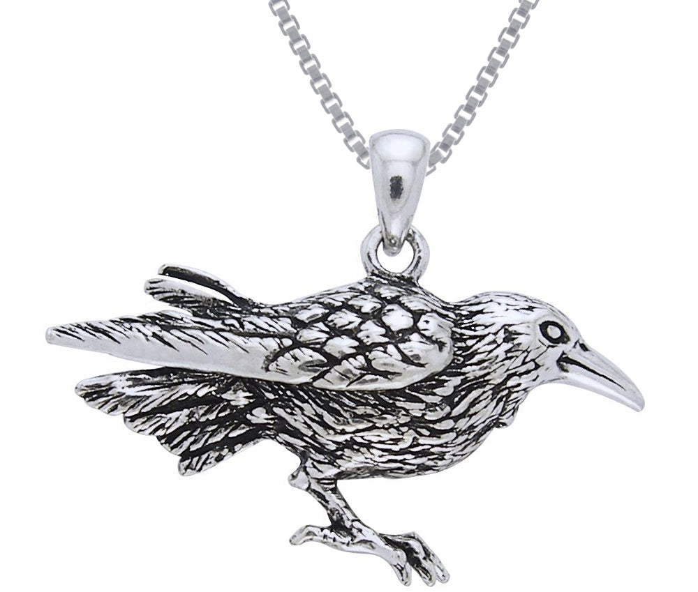 Jewelry Trends Sterling Silver Raven Bird Pendant on 18 Inch Box Chain Necklace
