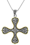 Jewelry Trends Sterling Silver Celtic Knotwork Cross Pendant with 14k Gold-Plating on 18 Inch Box Chain Necklace