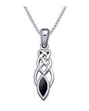 Jewelry Trends Sterling Silver Celtic Knotwork Black Onyx Pendant on 18 Inch Box Chain Necklace