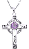Jewelry Trends Sterling Silver Celtic Knotwork Cross with Amethyst Pendant on 18 Inch Box Chain Necklace