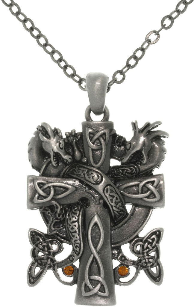 Jewelry Trends Pewter Celtic Double Dragon Cross Pendant on 24 Inch Chain Necklace