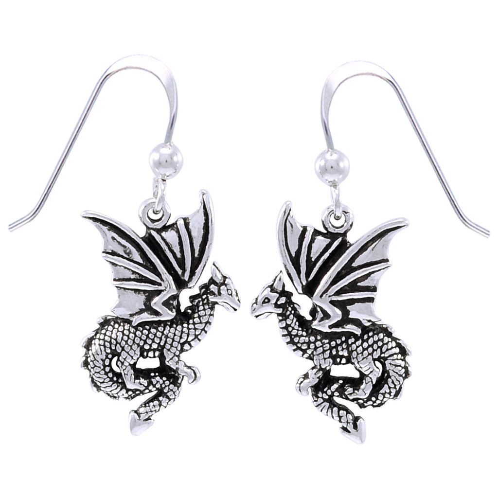 Jewelry Trends Sterling Silver Flying Dragon Dangle Earrings