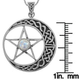 Jewelry Trends Sterling Silver Celtic Moon and Star Pentacle Pendant with Moonstone on 18 Inch Box Chain Necklace