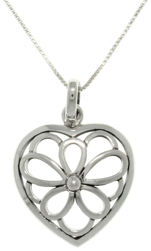 Jewelry Trends Sterling Silver Southwestern Open Flower Heart Pendant on 18 Inch Chain Necklace