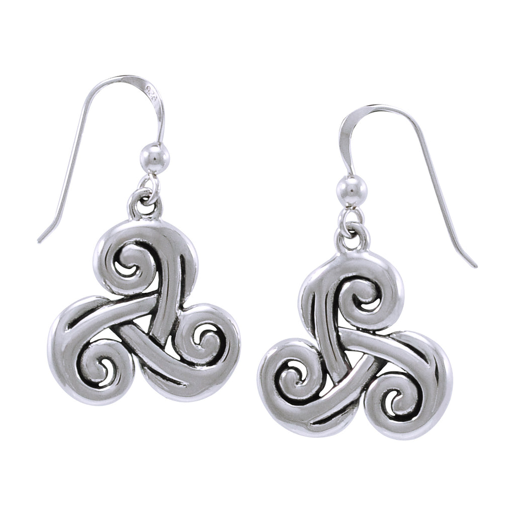 Jewelry Trends Sterling Silver Celtic Spiral Triskele Trinity Knot Dangle Earrings