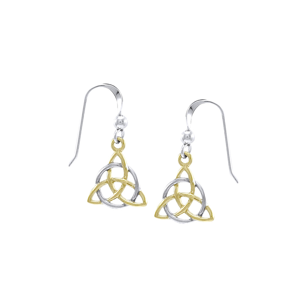 Jewelry Trends Sterling Silver Celtic Trinity Knot Triquetra Circle of Life Dangle Earrings with 18k Gold Plating