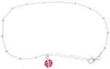 Jewelry Trends Sterling Silver Pink and Black Enamel Ladybug Adjustable 9 Inch Anklet