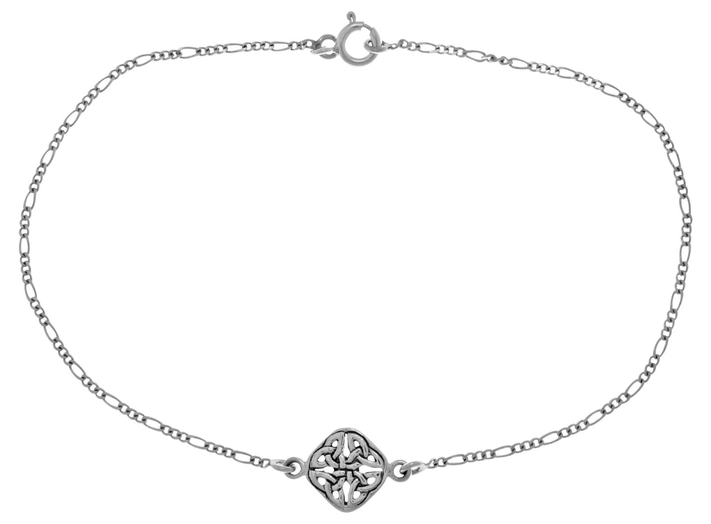 Jewelry Trends Sterling Silver Celtic Trinity Knot Stationary Charm 9 Inch Anklet