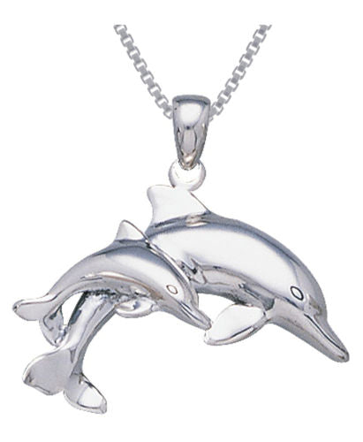 Jewelry Trends Sterling Silver Mother and Baby Dolphin Pendant on 18 Inch Box Chain Necklace