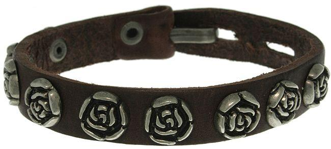 Jewelry Trends Genuine Brown Leather Bracelet with Stainless Steel Rose Studs Adjustable