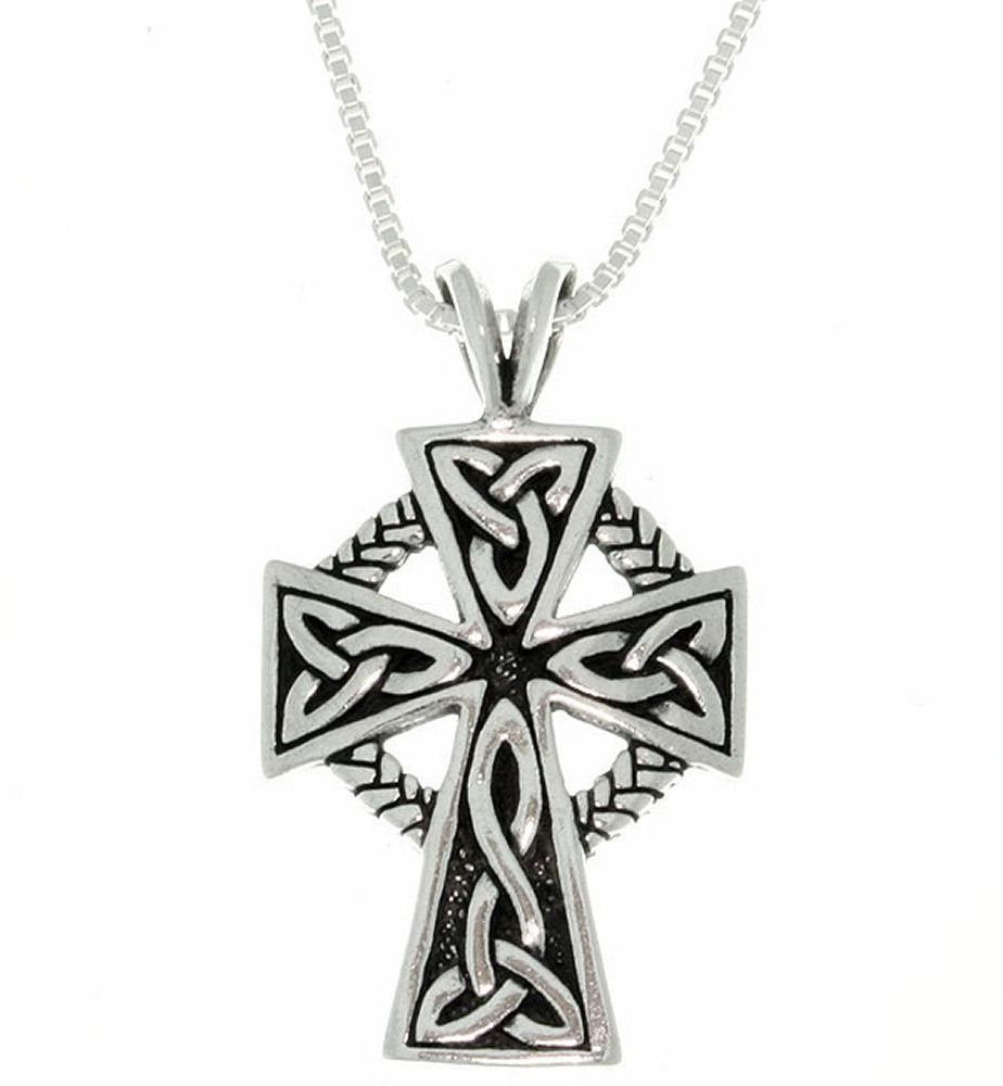 "Jewelry Trends Sterling Silver Celtic Cross Trinity Knot Pendant with Circle of Life on 18"" Box Chain Necklace"