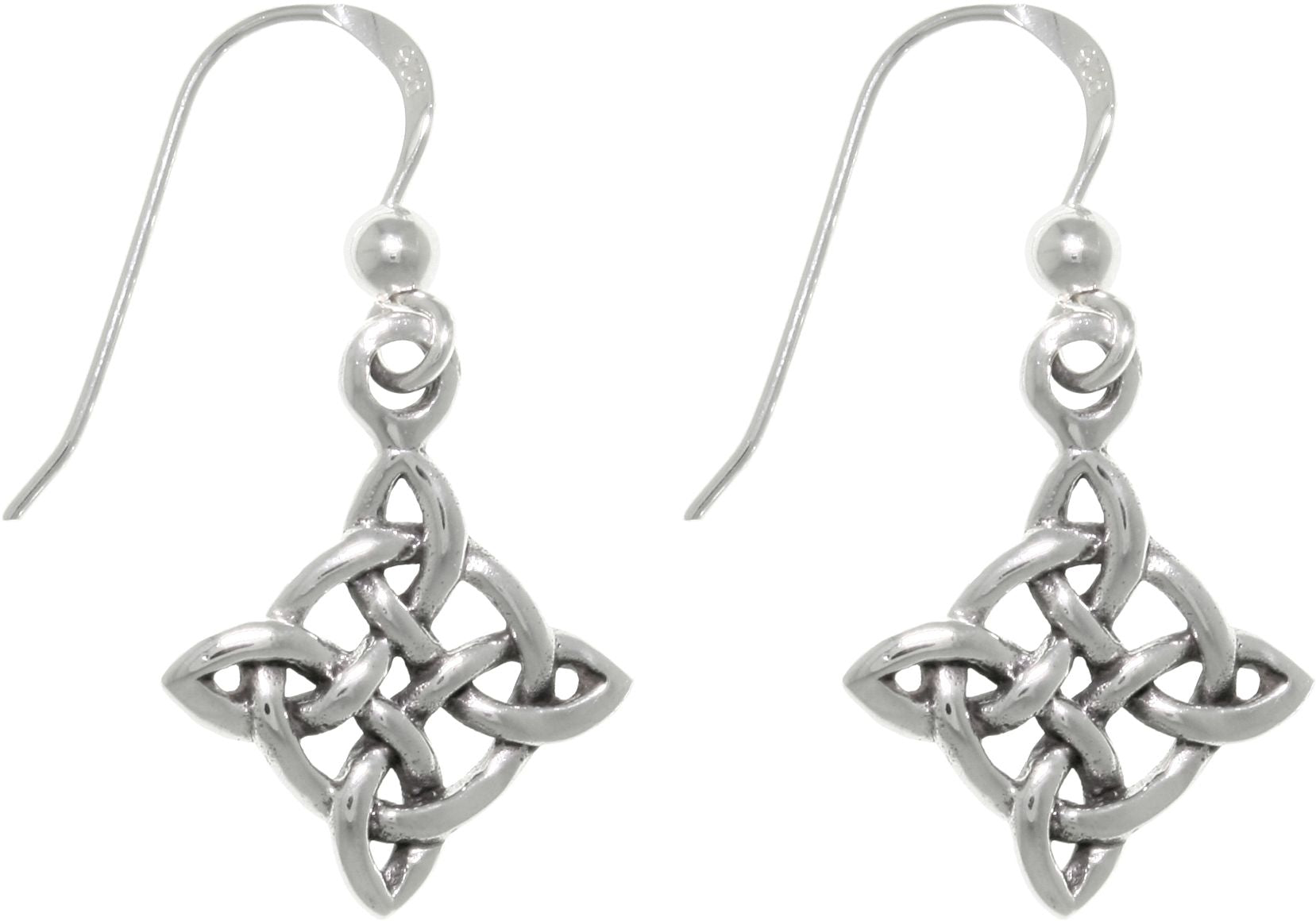 Jewelry Trends Sterling Silver Celtic Good Luck Quaternary Knot Dangle Earrings