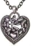 Jewelry Trends Celtic Dragon Heart Pewter Pendant with a 24 Inch Chain Necklace