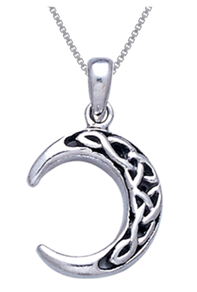 Jewelry Trends Sterling Silver Celtic Crescent Moon Pendant on 18 Inch Box Chain Necklace
