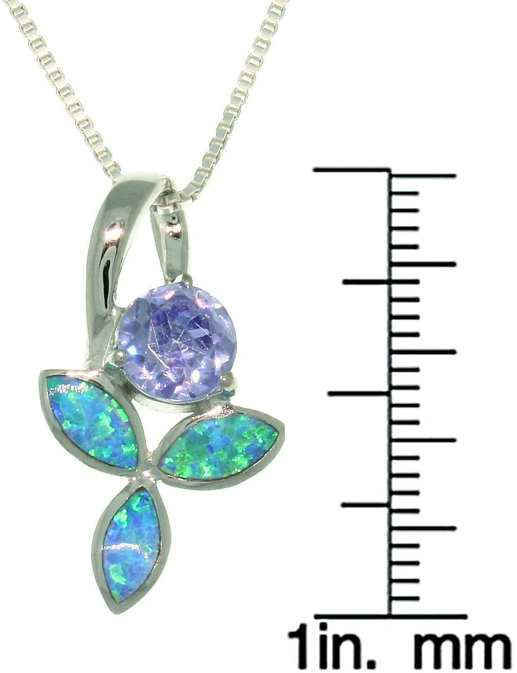 Jewelry Trends Sterling Silver Created Blue Opal And Purple Cz Iris