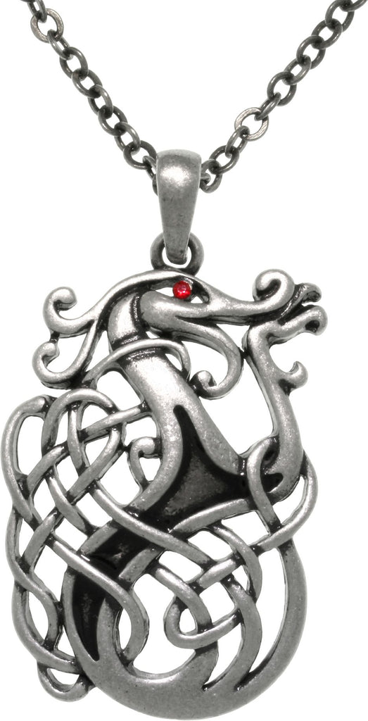 Jewelry Trends Pewter Celtic Dragon Knot Medallion Pendant on 24 Inch Chain Necklace