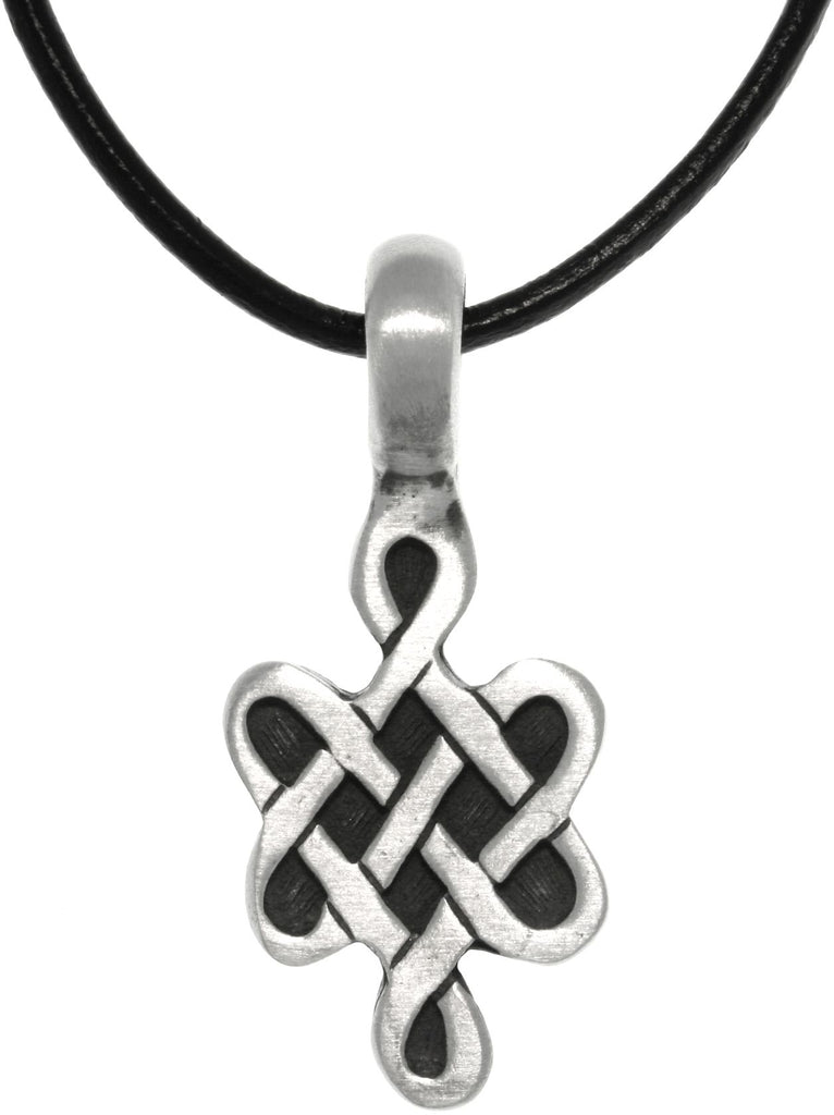 Jewelry Trends Pewter Celtic Love Knot Symbol Pendant on Black Leather Necklace