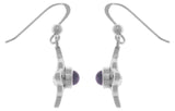 Jewelry Trends Sterling Silver Celtic Quaternary Luck Knot Dangle Earrings with Purple Amethyst Stones