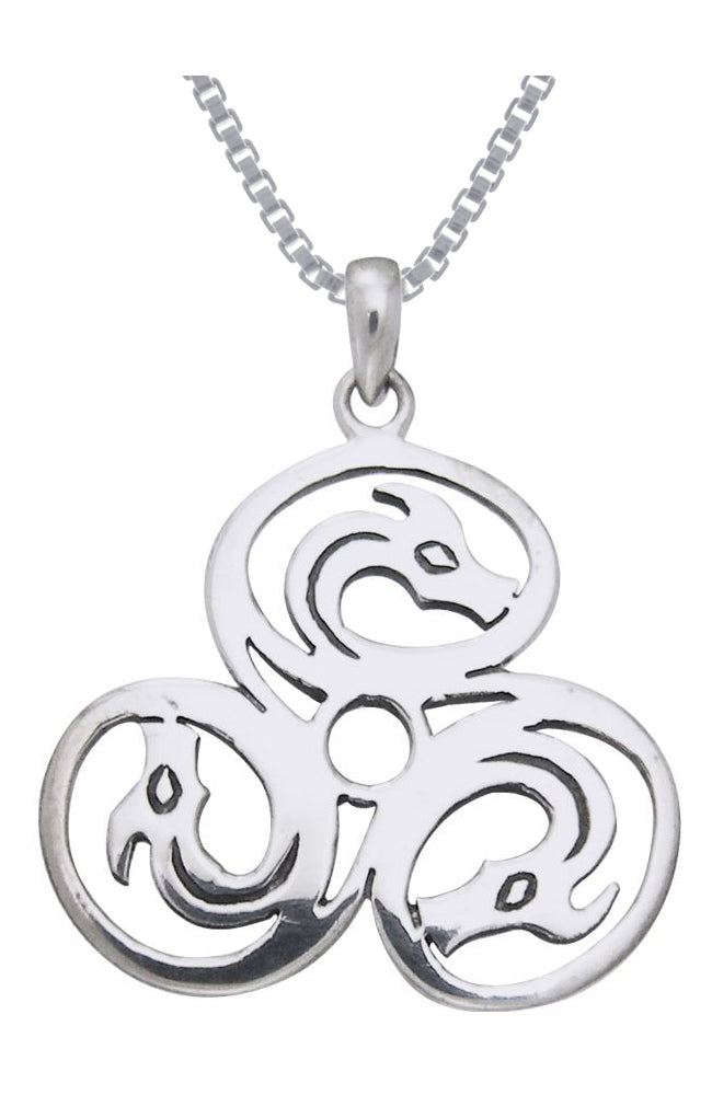 Jewelry Trends Sterling Silver Celtic Trinity Knot Triple Dragons Pendant on 18 Inch Box Chain Necklace