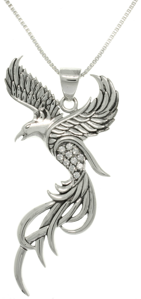 Jewelry Trends CZ Eagle Phoenix Sterling Silver Pendant Necklace 18""