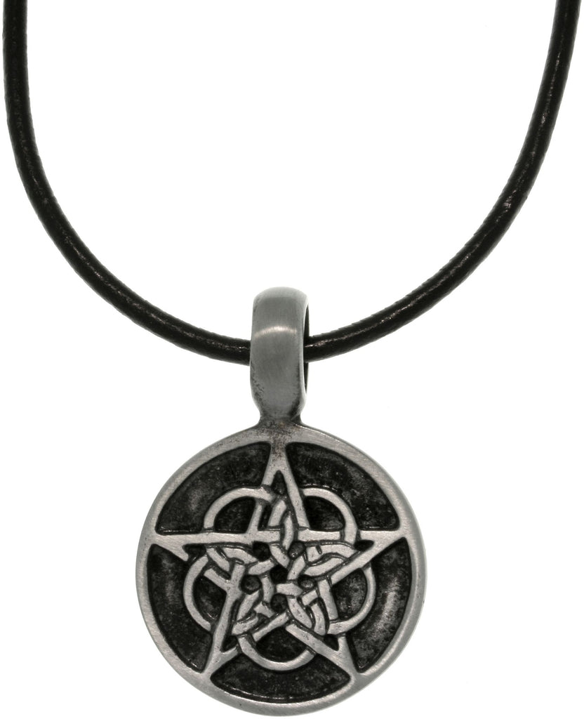 Jewelry Trends Pewter Unisex Black Enamel Celtic Star Pendant with 18 Inch Black Leather Cord Necklace