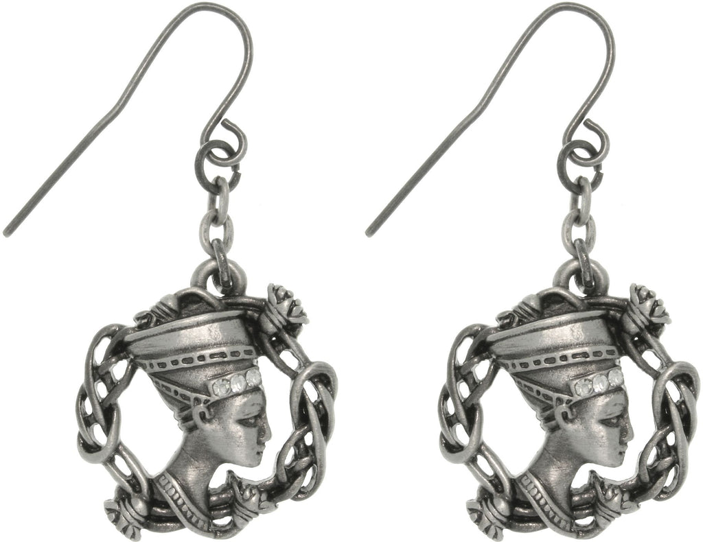 Jewelry Trends Pewter Rhinestone Egyptian Nefertiti Earrings