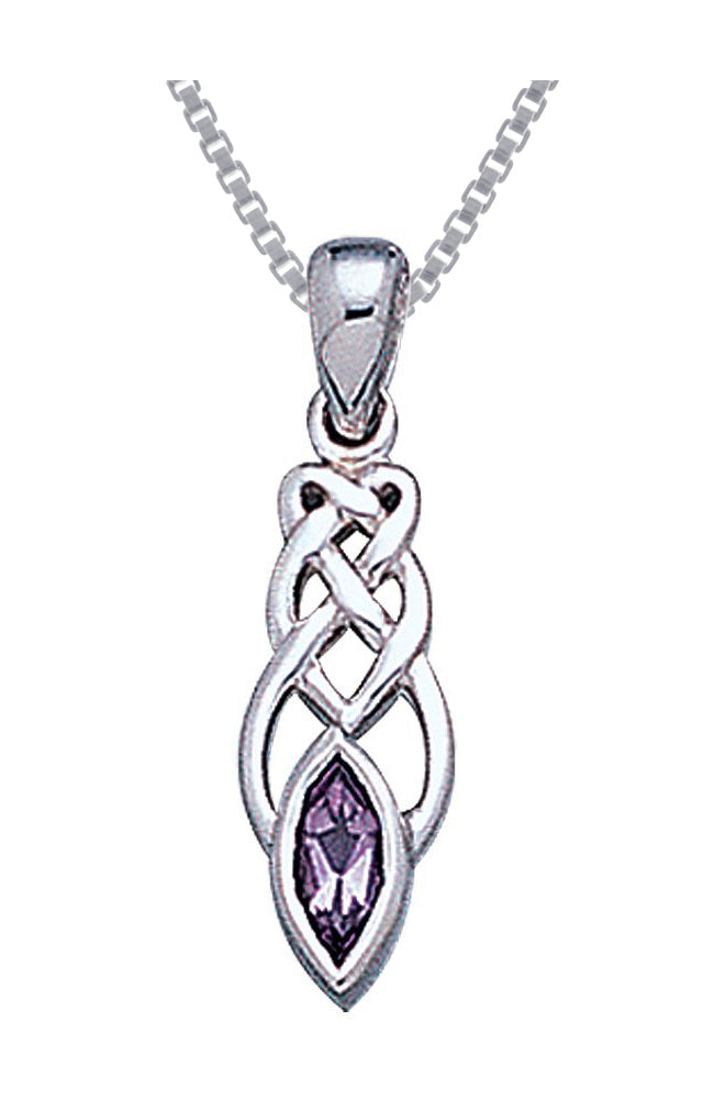Jewelry Trends Sterling Silver Celtic Knotwork Amethyst Pendant on 18 Inch Box Chain Necklace