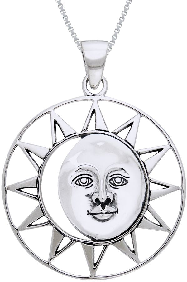 "Jewelry Trends Sterling Silver Moon Sun Face Goddess Pendant on 18"" Box Chain Necklace"