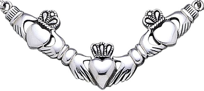 Jewelry Trends Sterling Silver Triple Claddagh Heart Crown Pendant Necklace
