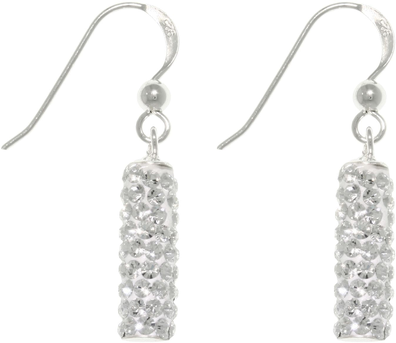 Jewelry Trends Sterling Silver Crystal Glass Sparkling Rectangular Dangle Earrings