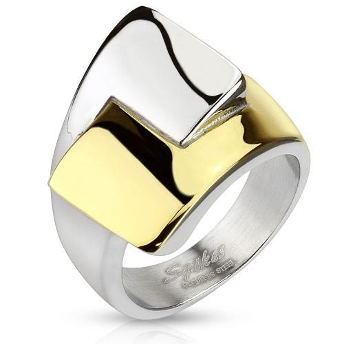 Jewelry Trends Stainless Steel Large Two Tone Ring with Interlocking Wrap Design Whole Sizes 6 - 10 - 6