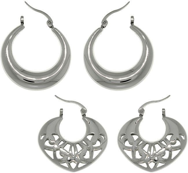 Jewelry Trends Stainless Steel 2 Pair Polished and Filigree Crescent Hoop Earring Set