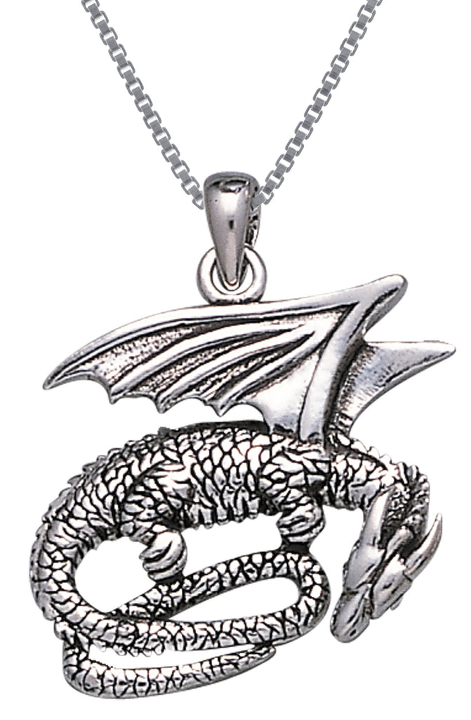 Jewelry Trends Sterling Silver Slumbering Dragon Pendant on 18 Inch Box Chain Necklace