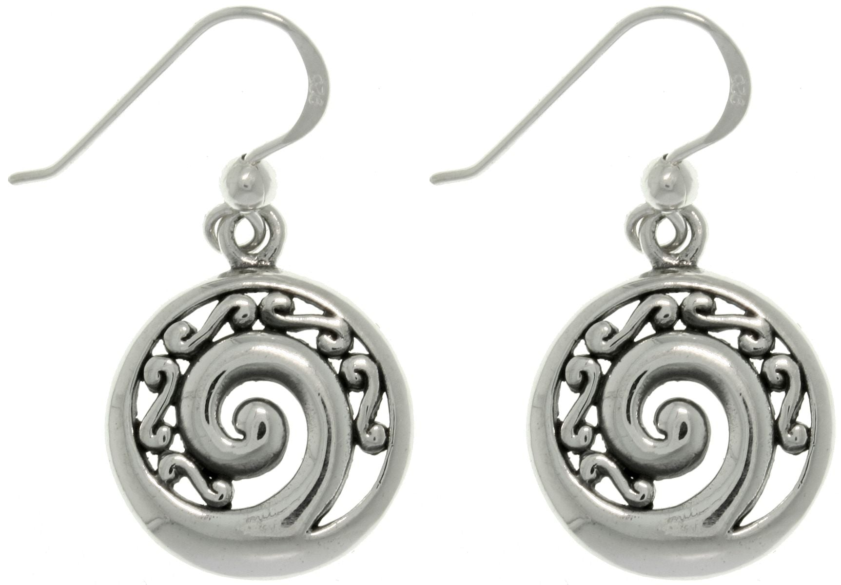 Jewelry Trends Sterling Silver Filigree Spiral Round Dangle Earrings