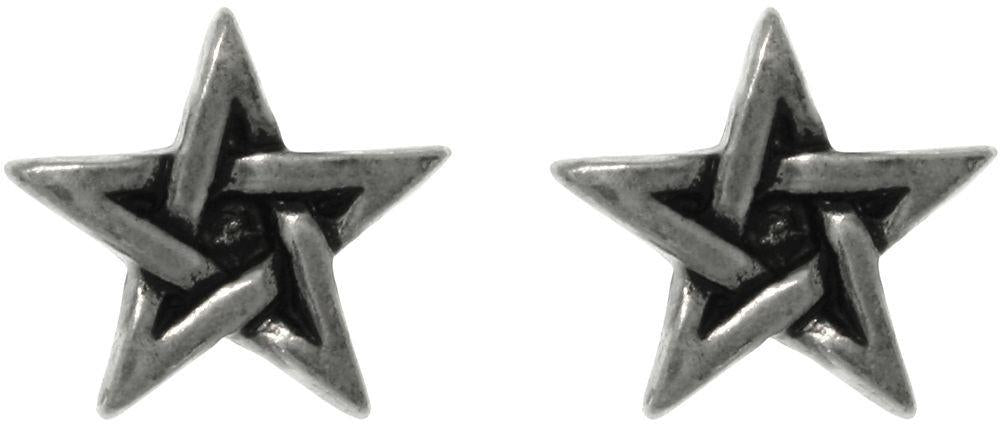 Jewelry Trends Pewter Five Point Star Unisex Stud Post Earrings