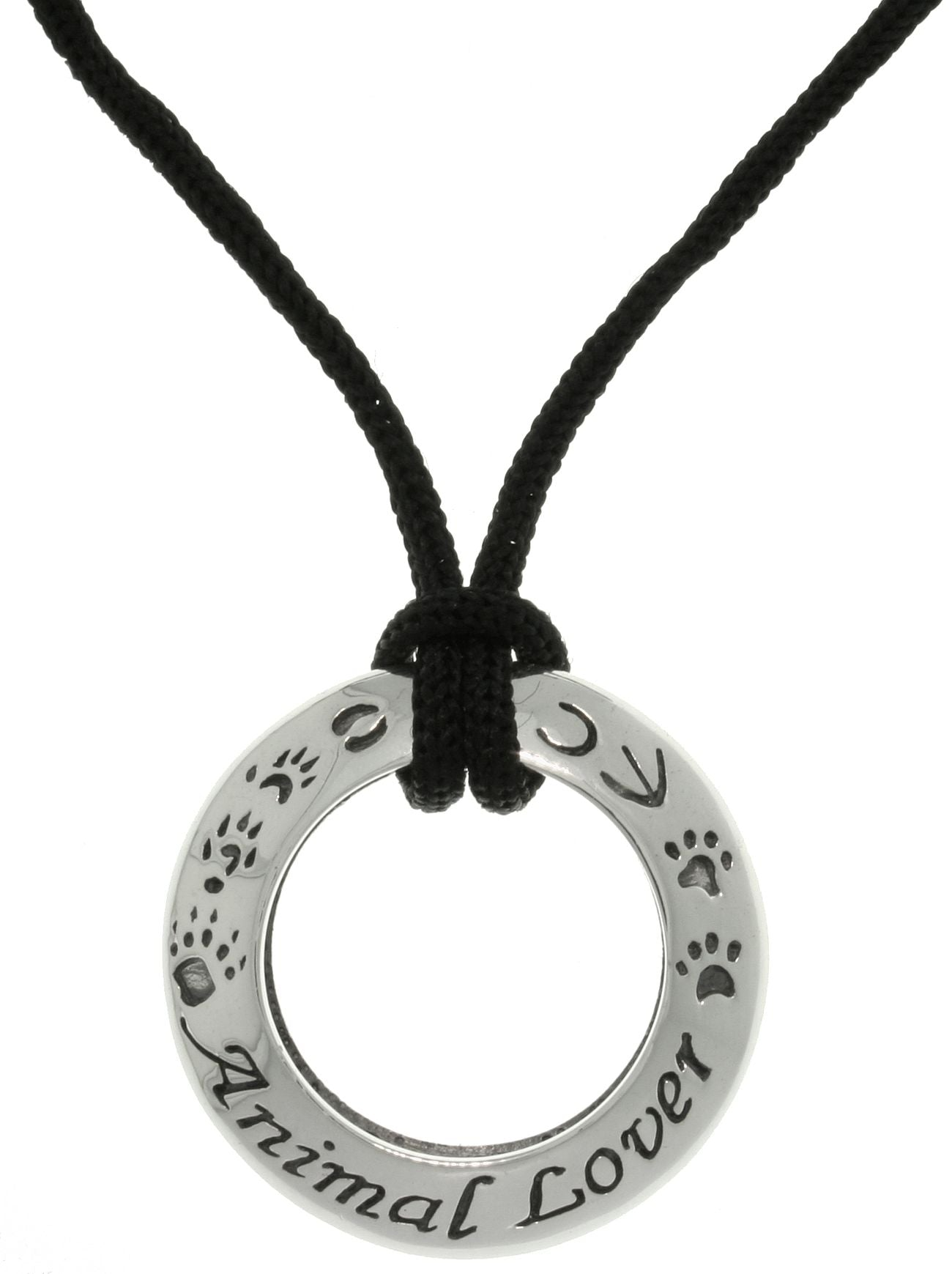 Jewelry Trends Sterling Silver Animal Lover Ring Pendant with Black Cord Necklace
