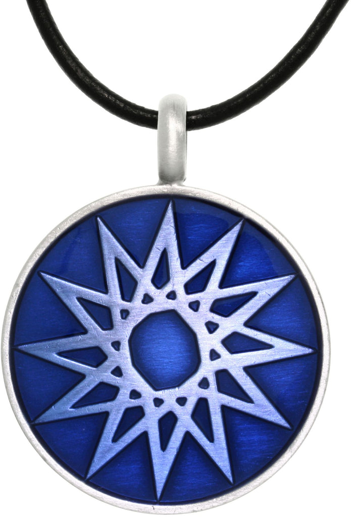 Jewelry Trends Pewter Magic Star Vibrant Blue Round Celestial Success Pendant on 18 Inch Black Leather Cord Necklace
