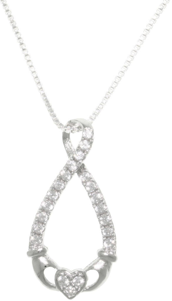 Jewelry Trends Sterling Silver Claddagh Infinity Knot Pendant with Pave CZ on 18 Inch Box Chain Necklace